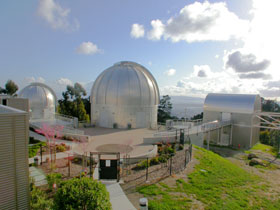 The telescope domes at Chabot Space and Science Center